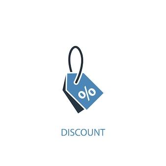 Koncepcja zniżki 2 kolorowa ikona. prosta ilustracja niebieski element. rabat koncepcja symbol projekt. może być używany do internetowego i mobilnego interfejsu użytkownika/ux