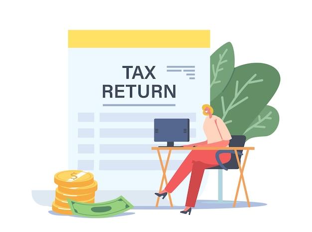 Koncepcja zwrotu podatku. drobna postać bizneswoman siedząca przy biurku w miejscu pracy z komputerem w pobliżu ogromnego dokumentu o zwrocie podatku