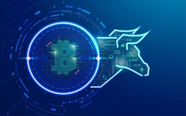 Koncepcja zwyżkowej grafiki kryptowaluty bitcoina z hossą i elementem finansowym