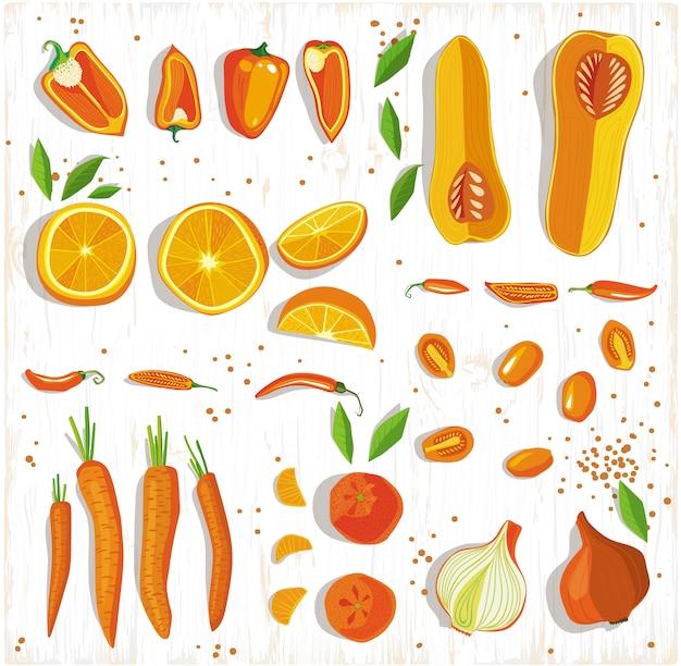 Koncepcja żywności healhy. owoc i warzywo wzór na drewnianym tle, odgórny widok.