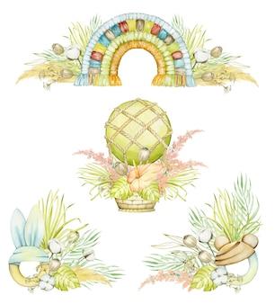 Koncepcje akwareli, na białym tle, w stylu boho. balon tęczowo-makrama, ozdobiony roślinami.
