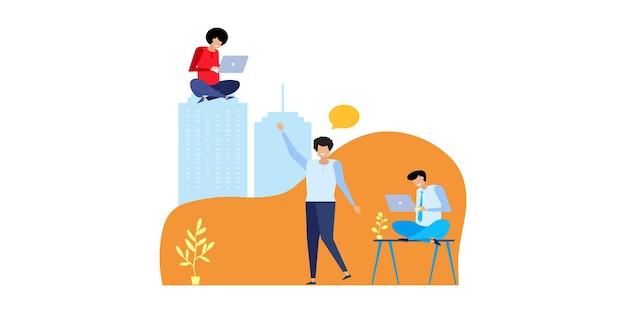 Koncepcje biznesowe przedsiębiorców. płaskie koncepcje ilustracji do projektowania stron internetowych