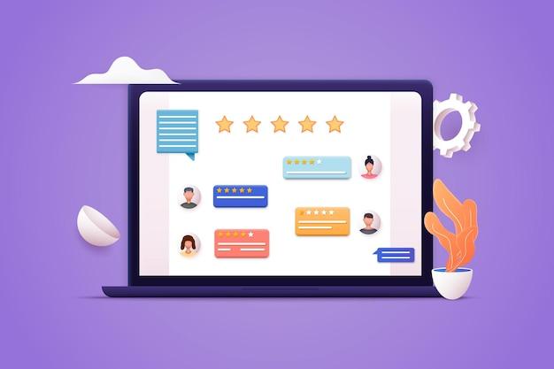 Koncepcje recenzji klientów na podstawie pięciogwiazdkowej doskonałej oceny recenzje gwiazdek z dobrą złą oceną i tekstem 3d