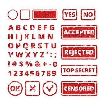 Koncepcje znaczków. nieczysty litery w ramkach odrzucone i zatwierdzone słowa dla szablonu pieczątki.