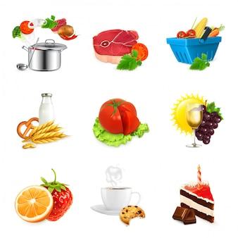 Koncepcje żywności, na białym tle wektor zestaw