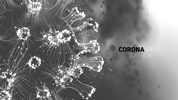 Koncepcyjna ilustracja koronawirusa. 3d wirusa forma na abstrakcjonistycznym tle. wizualizacja patogenu.