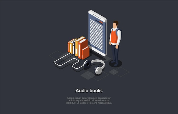 Koncepcyjna ilustracja książek audio.