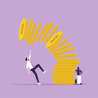 Koncepcyjna ilustracja mężczyzny lub biznesmena pod spadającym stosem monet
