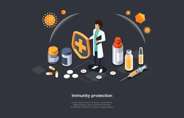 Koncepcyjna ilustracja ochrony odporności. izometryczne kompozycja wektorowa z postaciami i obiektami, stylu cartoon 3d. pracownik medyczny w białej szacie, wiele leków w słojach i ampułkach leży wokół.
