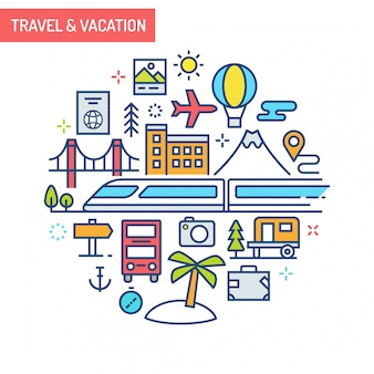 Koncepcyjna ilustracja podróży i wakacji