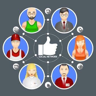 Koncepcyjna ilustracja przedstawiająca różnorodność ludzi w sieci społecznościowej z sześcioma awatarami