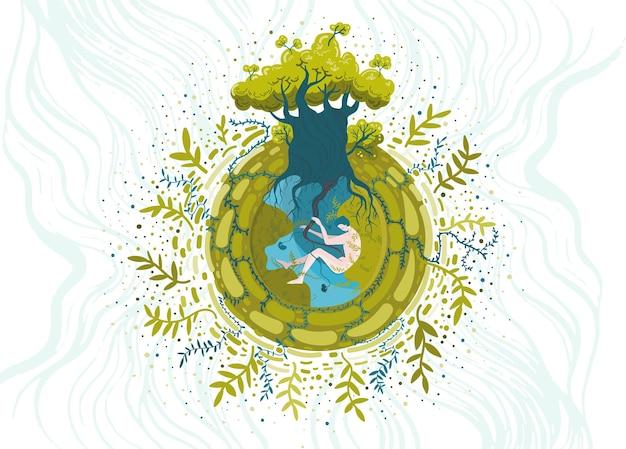 Koncepcyjna ilustracja wektorowa na temat ochrony środowiska i przyrody. jesteś częścią natury, zadbaj o nią.