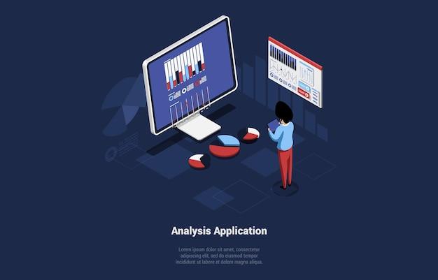 Koncepcyjna ilustracja wektorowa z tekstem i znakami. izometryczne skład w stylu cartoon 3d. aplikacja analityczna, program do zarządzania finansami online lub aplikacja mobilna z wykresami i diagramami.