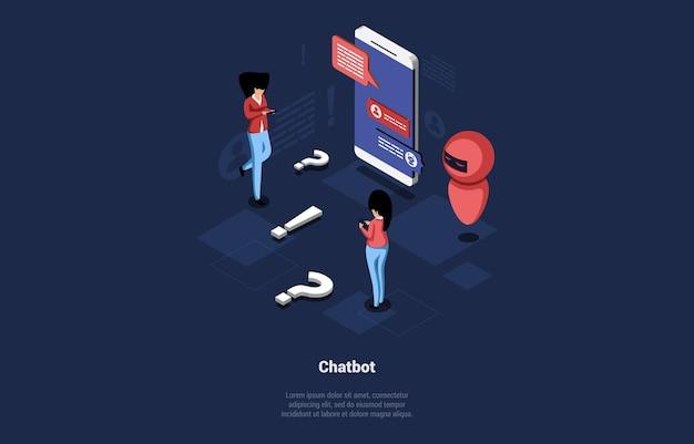 Koncepcyjna ilustracja wektorowa z tekstem i znakami. izometryczne skład w stylu cartoon 3d. usługa chatbot, system sztucznej inteligencji komunikacji z klientami, pomoc online dla klientów.