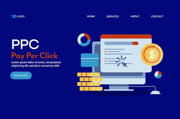 Koncepcyjna strona docelowa płatności za kliknięcie