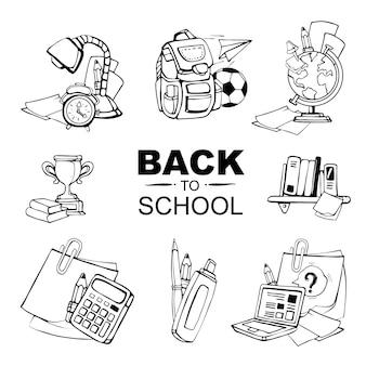 Koncepcyjne ikony ustawiać z szkolnymi elementami odizolowywają na bielu