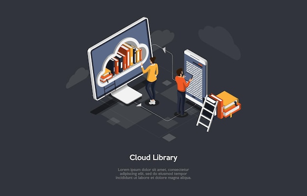 Koncepcyjne ilustracja pomysłu biblioteki chmury.