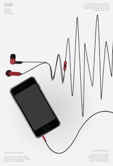 Koncepcyjne słuchawki z telefoniczną ilustracją