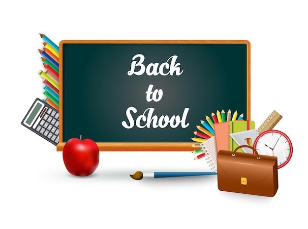 Koncepcyjne tablica kredą napis z ilustracji ikony edukacji. powrót do koncepcji infografiki szkoły. teczka, ołówki, kalkulator, pędzel, jabłko i kalkulator przedmioty nauczyciela