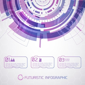 Koncepcyjne tło nowoczesnej technologii wirtualnej z futurystycznym okrągłym półkolem i selektorem dotykowym sceny z tekstem i piktogramami