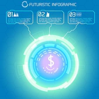 Koncepcyjne tło nowoczesnej technologii wirtualnej z ozdobnym kółkiem świetlnym i znakiem dolara z prostokątnymi podpisami infografiki