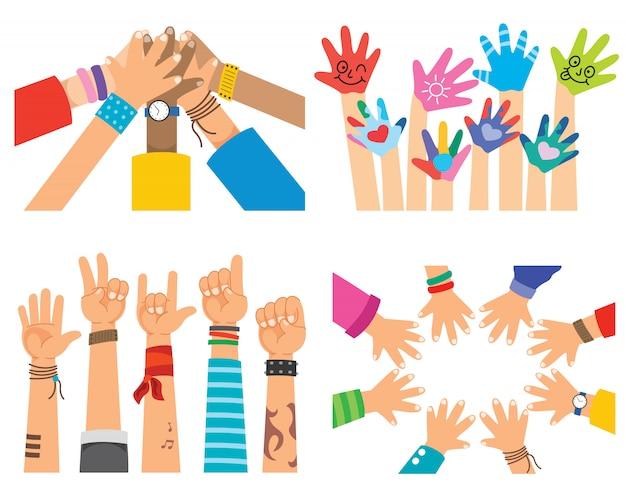 Koncepcyjne zespół symbol ręce