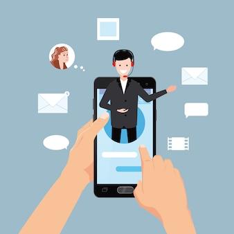 Koncepcyjny asystent online, ręce trzymają smartfona, klienta i operatora, call center, globalne wsparcie techniczne online 24-7