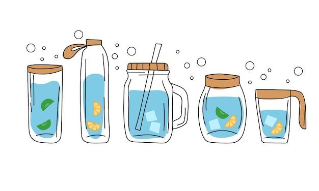 Koncept - pij więcej wody, pij wodę z lodem, pomarańczą, kiwi w szklanej butelce. wektor zestaw różnych butelek, szkła.