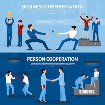 Konceptualna konfrontacja biznesowa płaskie banery zestaw