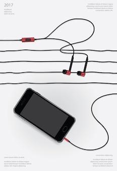 Konceptualne słuchawki z telefoniczną ilustracją