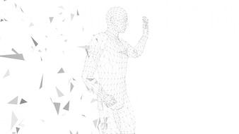 Konceptualny abstrakcjonistyczny mężczyzna z ręką wskazuje up