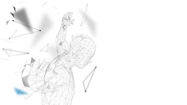 Konceptualny abstrakcjonistyczny mężczyzna dostaje przygotowywający skakać ilustrację