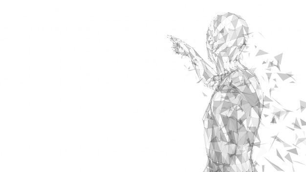 Konceptualny abstrakcjonistyczny mężczyzna dotyka lub wskazuje coś