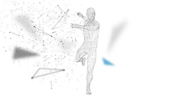 Konceptualny abstrakcjonistyczny mężczyzna robi potężnemu uderzeniu