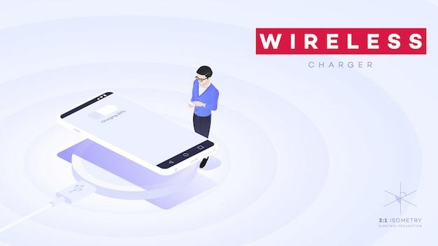 Konceptualny izometryczny smartfon z bezprzewodową ładowarką elektryczną usb.