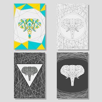Konceptualny zestaw graficzny z geometrycznym słoniem do wykorzystania w projektowaniu kart, plakatów, banerów, afisz, broszur lub okładek billboardów