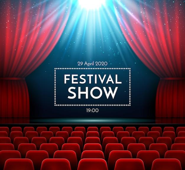 Koncert muzyki klasycznej na widowni operowej pokaż wnętrze sceny z aksamitną czerwoną zasłoną, jasnym światłem reflektorów i krzesłami teatralnymi.