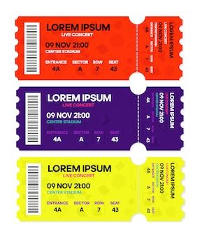 Koncert na żywo muzyka lub taniec, szablony biletów.