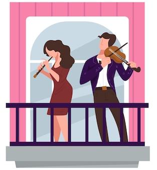 Koncert skrzypaczki i flecistki na balkonie, blokada koronawirusa i kwarantanna podczas epidemii. muzycy grający występy dla sąsiadów, ludzi w garniturach. wektor w stylu płaskiej