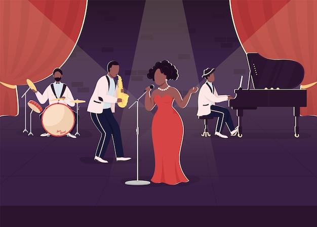 Koncert zespołu jazzowego na żywo w płaskim kolorze. występ z piosenkarzem i instrumentami muzycznymi. nocny pokaz. afrykańscy muzycy bluesowi 2d postaci z kreskówek ze sceną w tle