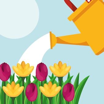 Konewka kwiaty opieka nad przyrodą ogrodnictwo obrazu
