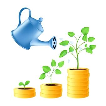 Konewka wylewa wodę na stos złotych monet. inwestycja biznesowa i koncepcja oszczędności pieniędzy z etapami wzrostu roślin zielonych. ilustracja wektorowa wzrostu finansowego na białym tle