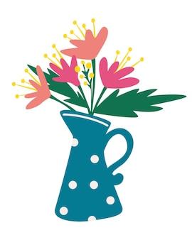 Konewka z bukietem kwiatów dekoracja kwiatowa liście ogrodowy kwiat