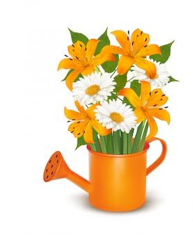 Konewka z bukietem kwiatów.