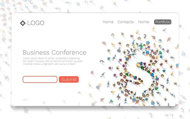 Konferencja biznesowa, koncepcja strony docelowej. ilustracja wektorowa