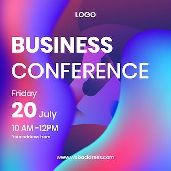 Konferencja biznesowa social media banner z płynnym efektem
