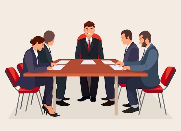 Konferencja biznesowa, spotkanie w sali konferencyjnej. szef i pracownicy omawiają projekt. zespół burzy mózgów