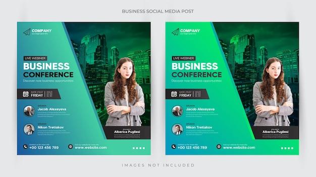 Konferencja biznesowa szablon postu i ulotki na instagramie lub baner internetowy premium vector