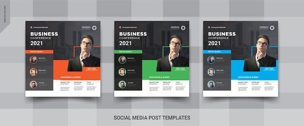 Konferencja biznesowa szablon postu w mediach społecznościowych na instagramie