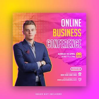 Konferencja biznesowa w mediach społecznościowych post warsztaty online projekt szablonu ulotki kwadratowej